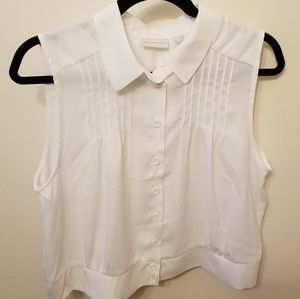 New York and Company white crop blouse